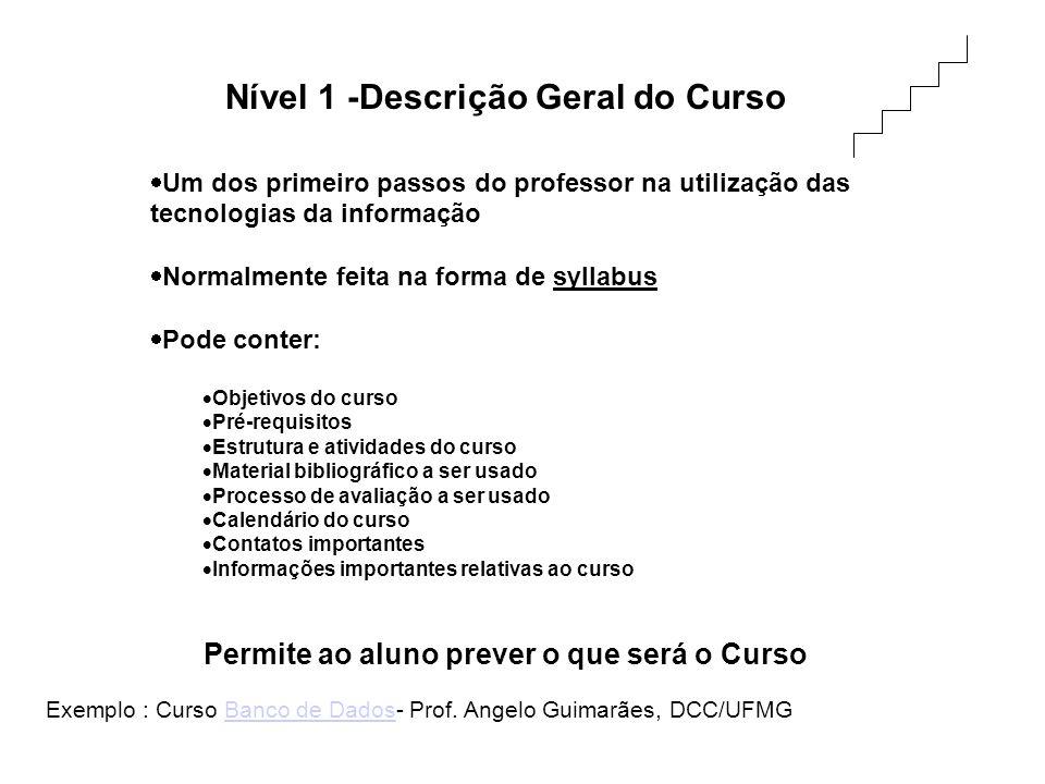Nível 1 -Descrição Geral do Curso Um dos primeiro passos do professor na utilização das tecnologias da informação Normalmente feita na forma de syllab