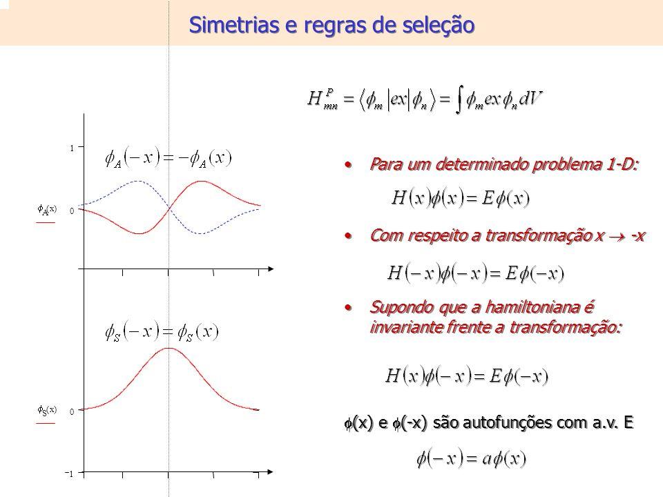 0 1 A x() 1 0 S x() Para um determinado problema 1-D: Com respeito a transformação x -x Supondo que a hamiltoniana é invariante frente a transformação: (x) e (-x) são autofunções com a.v.