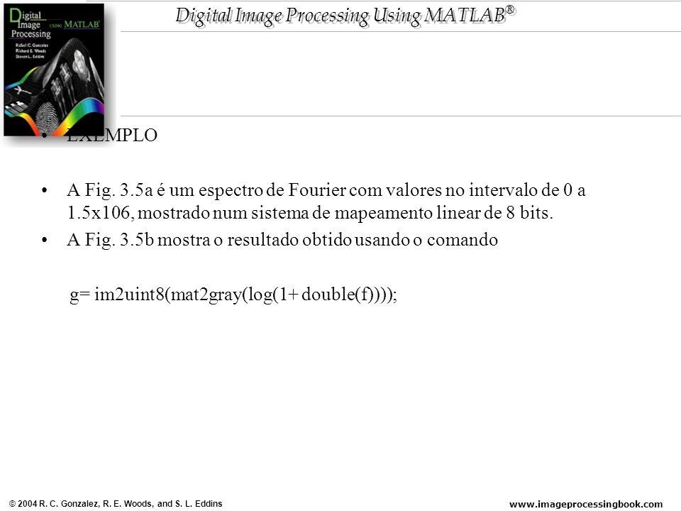www.imageprocessingbook.com © 2004 R. C. Gonzalez, R. E. Woods, and S. L. Eddins Digital Image Processing Using MATLAB ® EXEMPLO A Fig. 3.5a é um espe