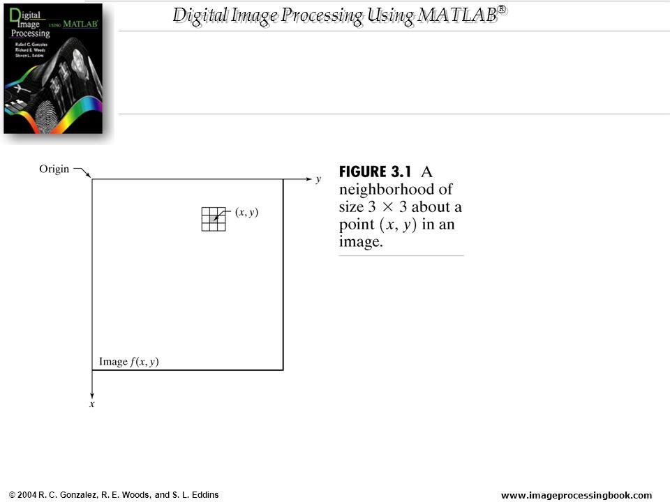 www.imageprocessingbook.com © 2004 R. C. Gonzalez, R. E. Woods, and S. L. Eddins Digital Image Processing Using MATLAB ®