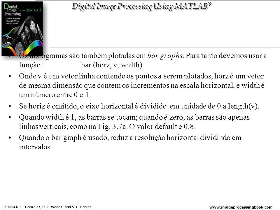 www.imageprocessingbook.com © 2004 R. C. Gonzalez, R. E. Woods, and S. L. Eddins Digital Image Processing Using MATLAB ® Os histogramas são também plo