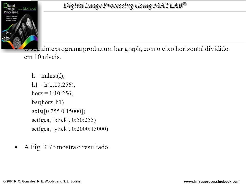 www.imageprocessingbook.com © 2004 R. C. Gonzalez, R. E. Woods, and S. L. Eddins Digital Image Processing Using MATLAB ® O seguinte programa produz um