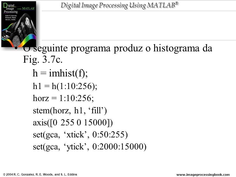www.imageprocessingbook.com © 2004 R. C. Gonzalez, R. E. Woods, and S. L. Eddins Digital Image Processing Using MATLAB ® O seguinte programa produz o