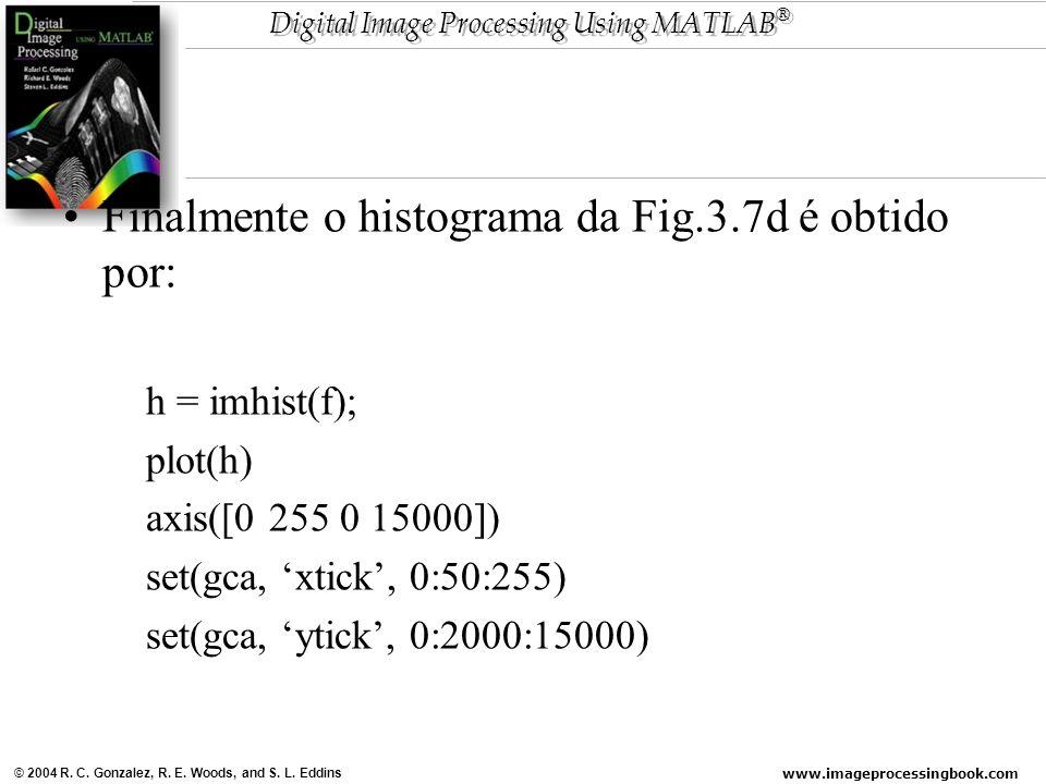 www.imageprocessingbook.com © 2004 R. C. Gonzalez, R. E. Woods, and S. L. Eddins Digital Image Processing Using MATLAB ® Finalmente o histograma da Fi