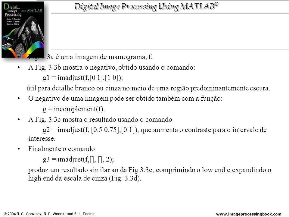 www.imageprocessingbook.com © 2004 R. C. Gonzalez, R. E. Woods, and S. L. Eddins Digital Image Processing Using MATLAB ® Fig. 3.3a é uma imagem de mam