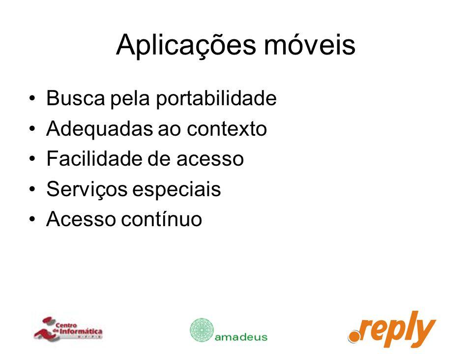 Aplicações móveis Busca pela portabilidade Adequadas ao contexto Facilidade de acesso Serviços especiais Acesso contínuo