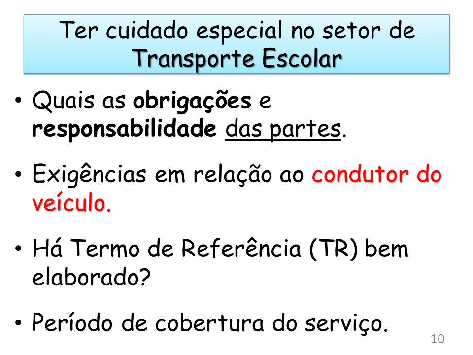 Transporte Escolar Ter cuidado especial no setor de Transporte Escolar Quais as obrigações e responsabilidade das partes. condutor do veículo. Exigênc