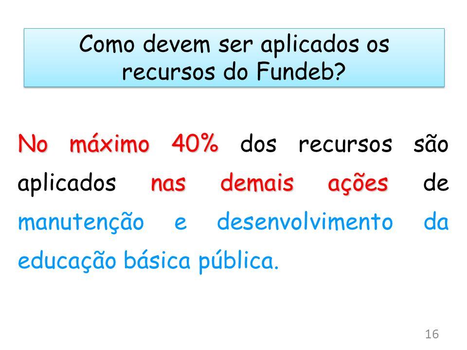 Como devem ser aplicados os recursos do Fundeb? No máximo 40% nas demais ações No máximo 40% dos recursos são aplicados nas demais ações de manutenção