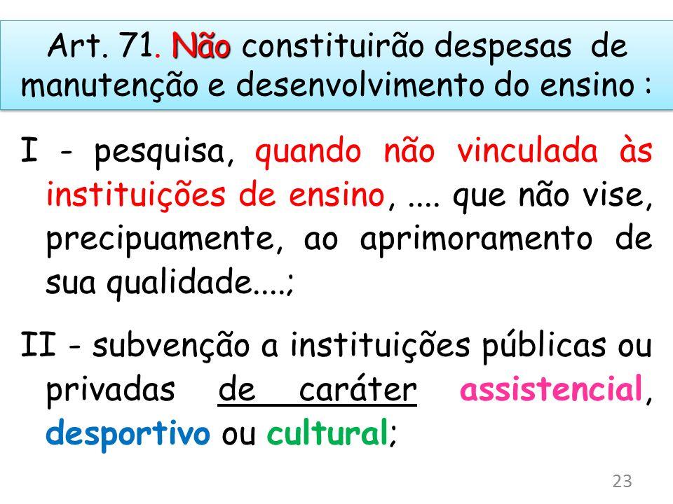 Não Art. 71. Não constituirão despesas de manutenção e desenvolvimento do ensino : I - pesquisa, quando não vinculada às instituições de ensino,.... q