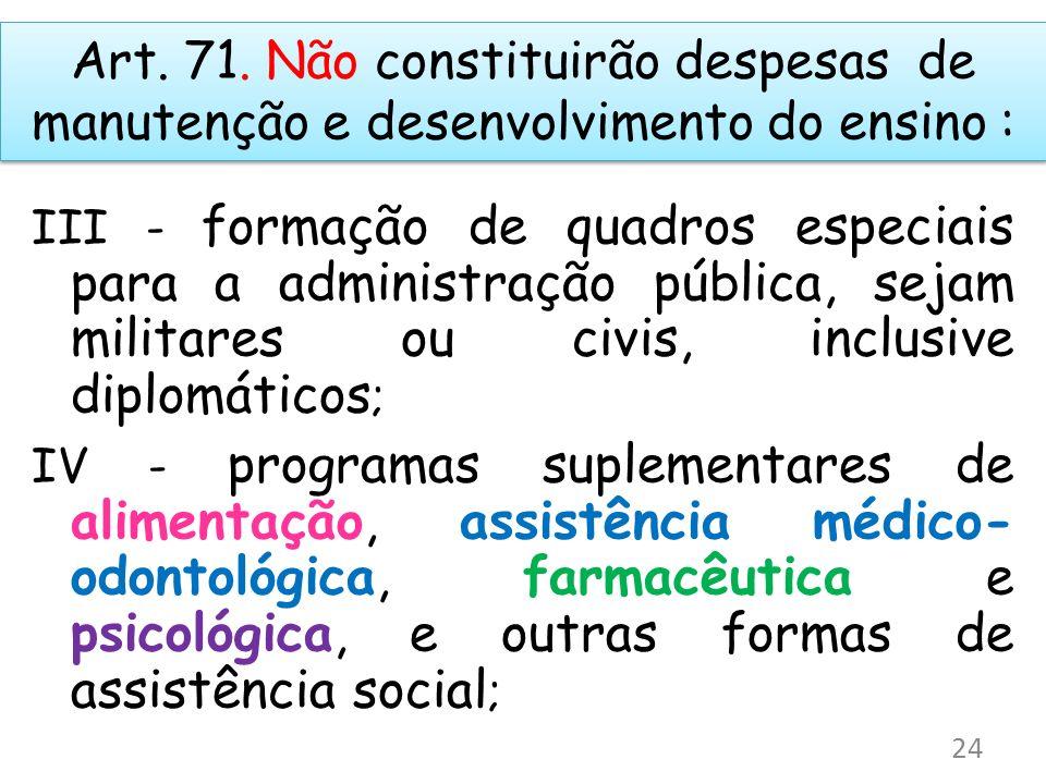 Art. 71. Não constituirão despesas de manutenção e desenvolvimento do ensino : III - formação de quadros especiais para a administração pública, sejam