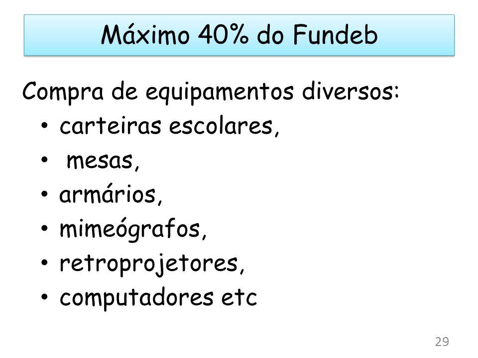 Máximo 40% do Fundeb Compra de equipamentos diversos: carteiras escolares, mesas, armários, mimeógrafos, retroprojetores, computadores etc 29