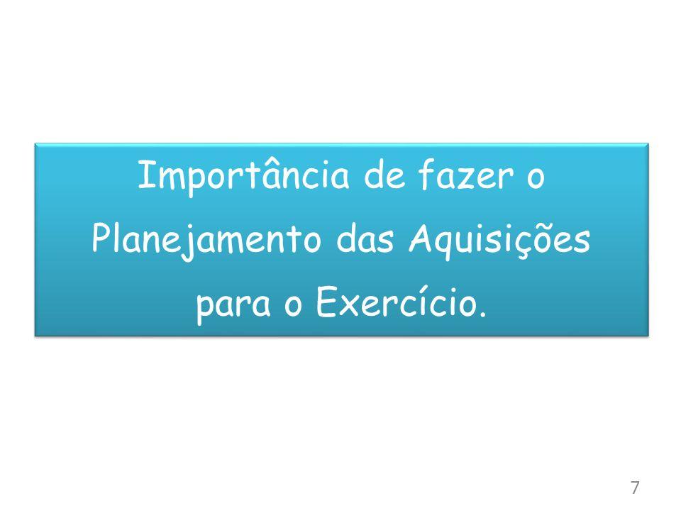 Importância de fazer o Planejamento das Aquisições para o Exercício. Importância de fazer o Planejamento das Aquisições para o Exercício. 7
