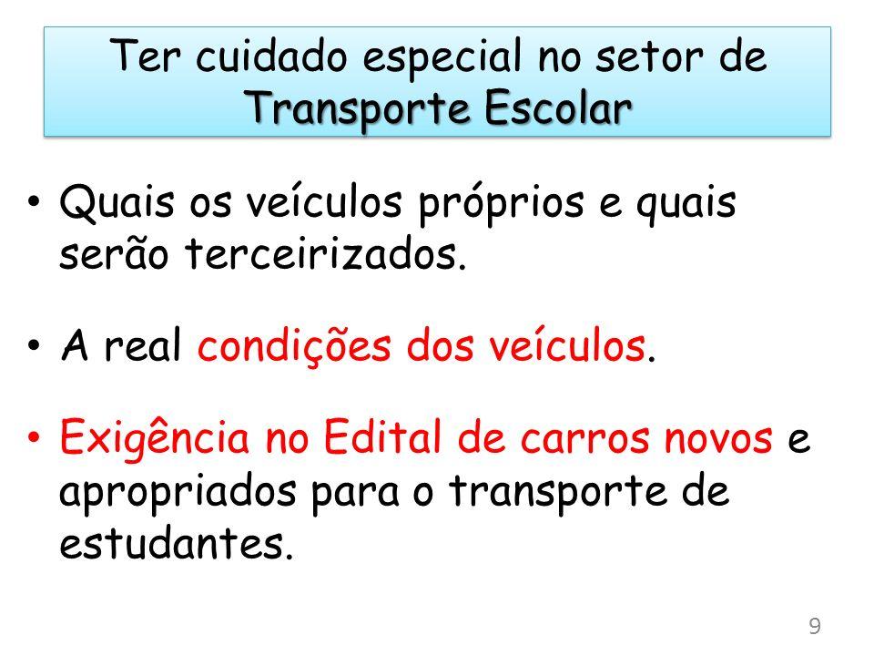 Transporte Escolar Ter cuidado especial no setor de Transporte Escolar Quais os veículos próprios e quais serão terceirizados. A real condições dos ve