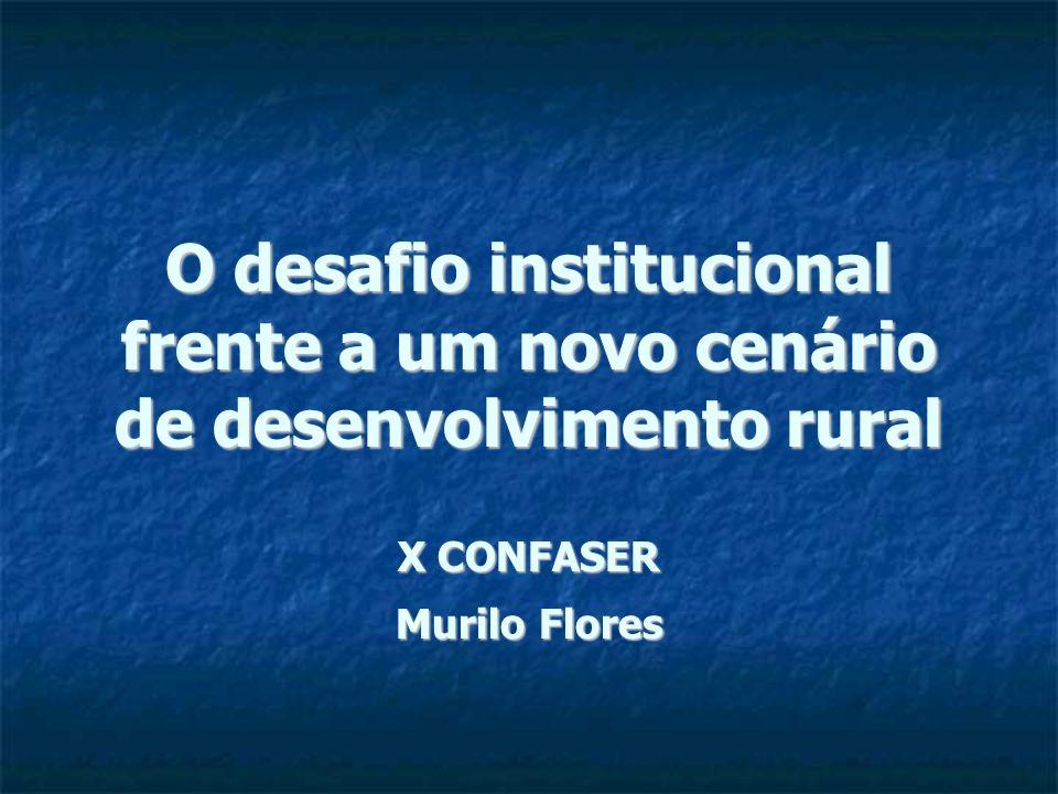 O desafio institucional frente a um novo cenário de desenvolvimento rural X CONFASER Murilo Flores