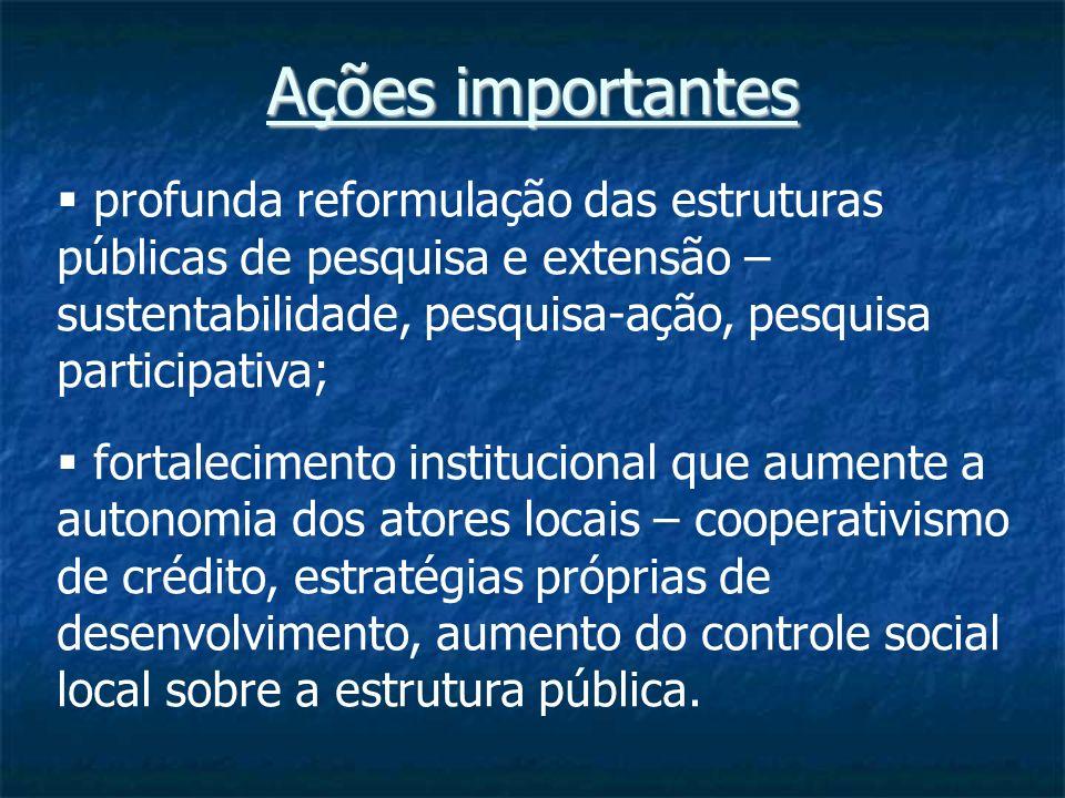 Ações importantes profunda reformulação das estruturas públicas de pesquisa e extensão – sustentabilidade, pesquisa-ação, pesquisa participativa; fortalecimento institucional que aumente a autonomia dos atores locais – cooperativismo de crédito, estratégias próprias de desenvolvimento, aumento do controle social local sobre a estrutura pública.