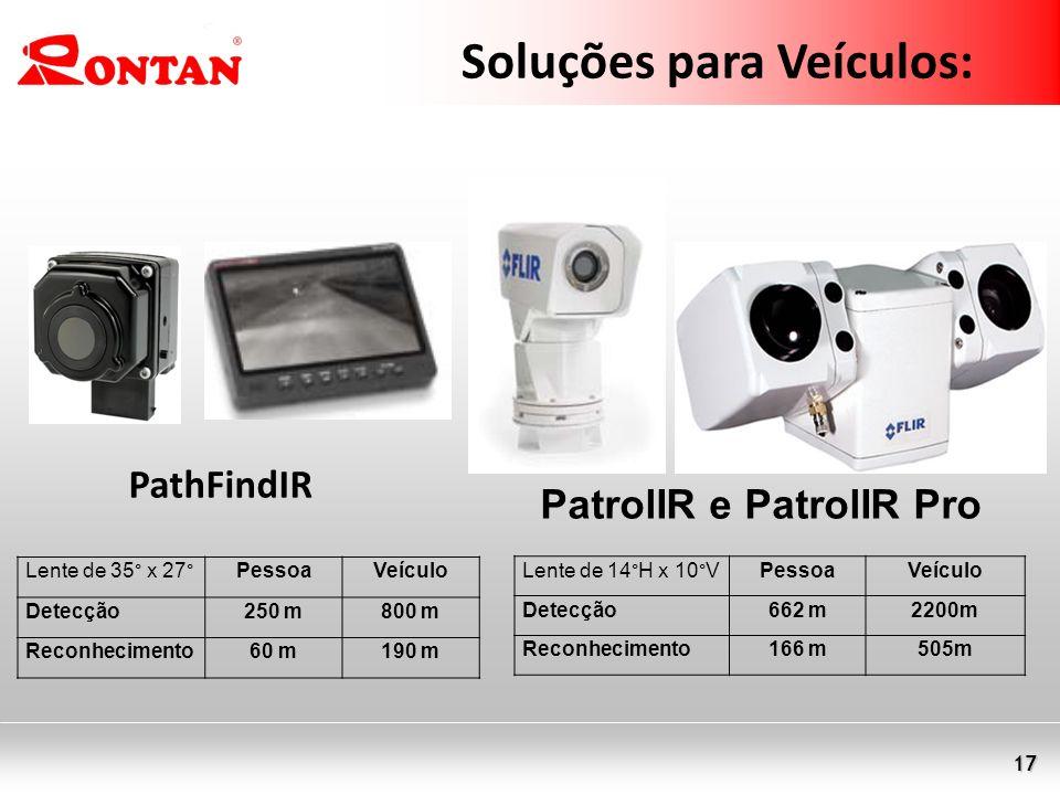 17 Soluções para Veículos: PatrolIR e PatrolIR Pro PathFindIR Lente de 35° x 27°PessoaVeículo Detecção250 m800 m Reconhecimento60 m190 m Lente de 14°H