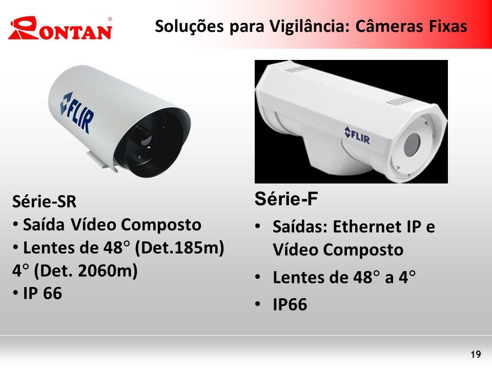 19 Soluções para Vigilância: Câmeras Fixas Série-SR Saída Vídeo Composto Lentes de 48 (Det.185m) 4 (Det. 2060m) IP 66 Série-F Saídas: Ethernet IP e Ví