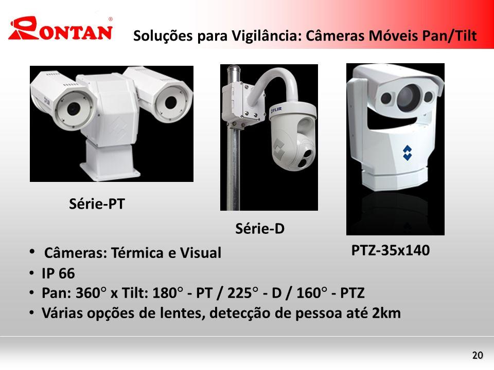 20 Soluções para Vigilância: Câmeras Móveis Pan/Tilt Câmeras: Térmica e Visual IP 66 Pan: 360 x Tilt: 180 - PT / 225 - D / 160 - PTZ Várias opções de