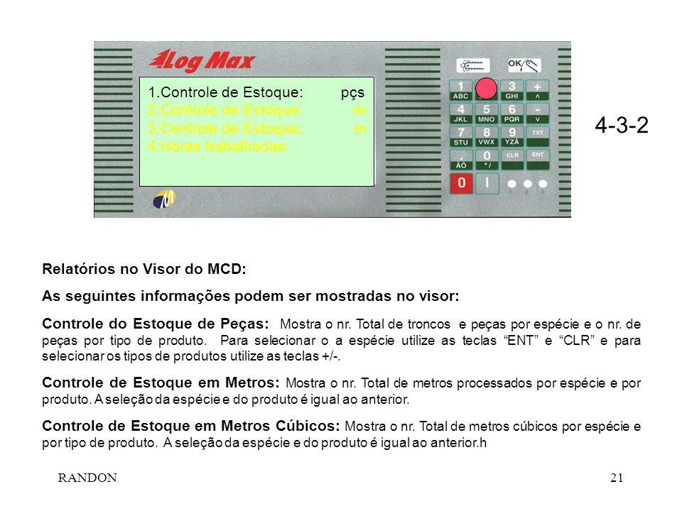 RANDON21 1.Controle de Estoque: pçs 2.Controle de Estoque: m 3.Controle de Estoque: m 4.Horas trabalhadas: 4-3-2 Relatórios no Visor do MCD: As seguin