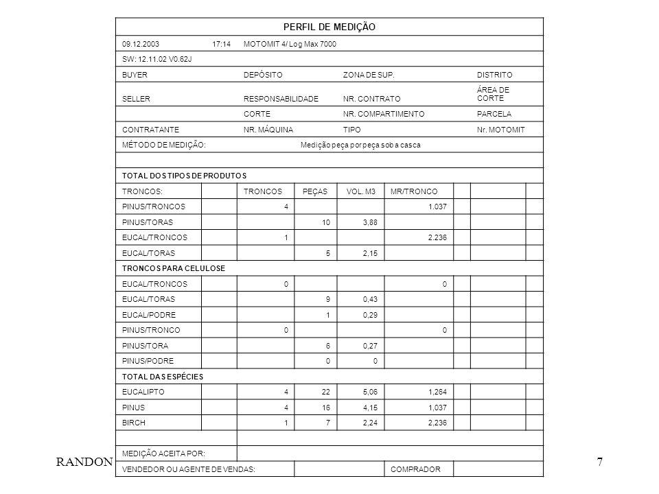 RANDON7 PERFIL DE MEDIÇÃO 09.12.200317:14MOTOMIT 4/ Log Max 7000 SW: 12.11.02 V0.62J BUYER DEPÓSITO ZONA DE SUP. DISTRITO SELLER RESPONSABILIDADENR. C