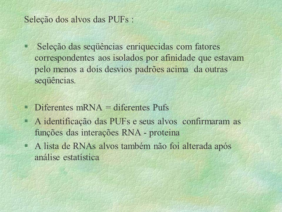 Seleção dos alvos das PUFs : § Seleção das seqüências enriquecidas com fatores correspondentes aos isolados por afinidade que estavam pelo menos a doi