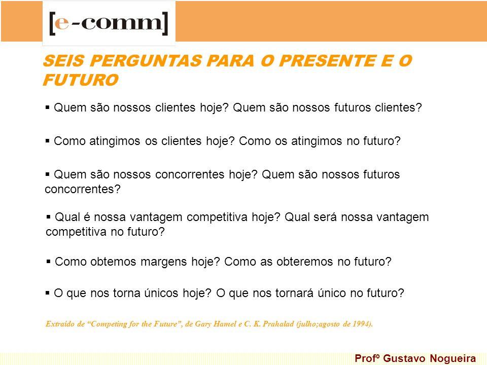 SEIS PERGUNTAS PARA O PRESENTE E O FUTURO Quem são nossos clientes hoje? Quem são nossos futuros clientes? Como atingimos os clientes hoje? Como os at