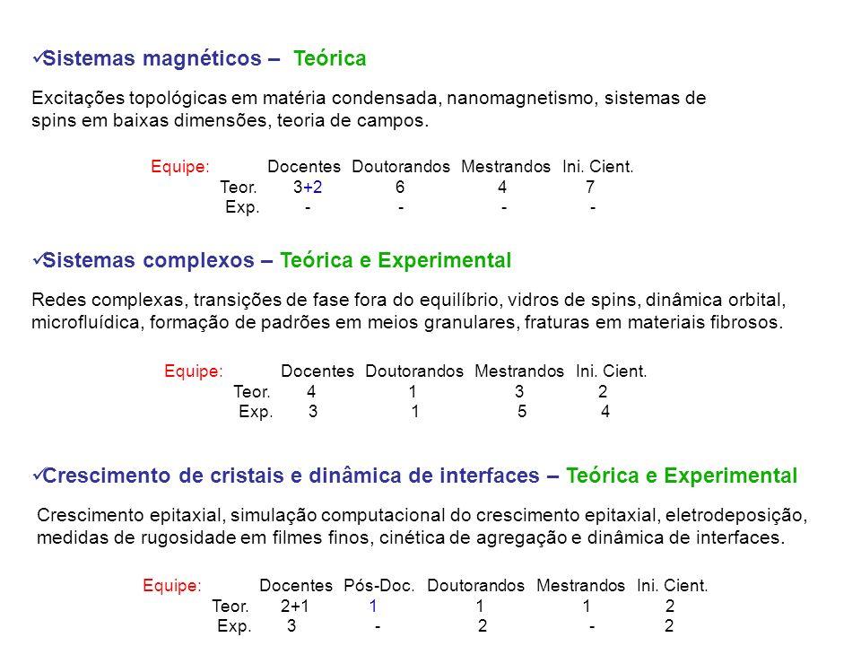 Sistemas magnéticos – Teórica Excitações topológicas em matéria condensada, nanomagnetismo, sistemas de spins em baixas dimensões, teoria de campos.