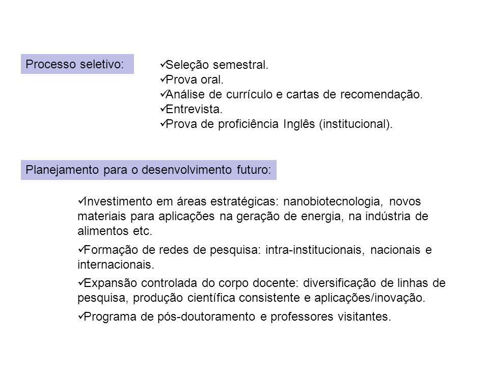 Processo seletivo: Seleção semestral.Prova oral. Análise de currículo e cartas de recomendação.
