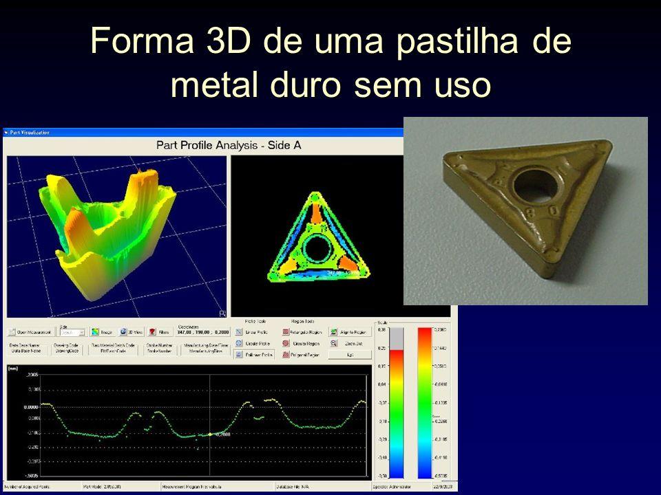 Forma 3D de uma pastilha de metal duro sem uso