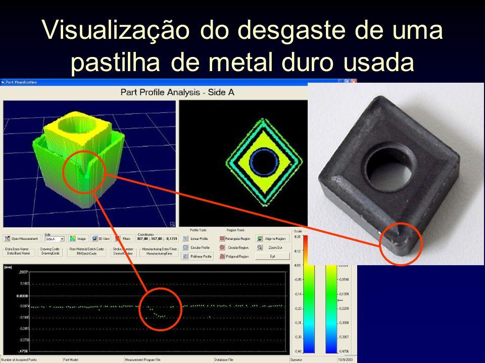 Visualização do desgaste de uma pastilha de metal duro usada