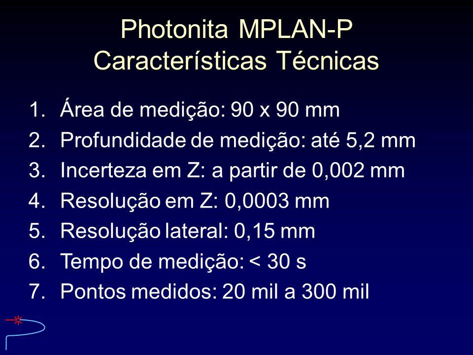 Photonita MPLAN-P Características Técnicas 1.Área de medição: 90 x 90 mm 2.Profundidade de medição: até 5,2 mm 3.Incerteza em Z: a partir de 0,002 mm
