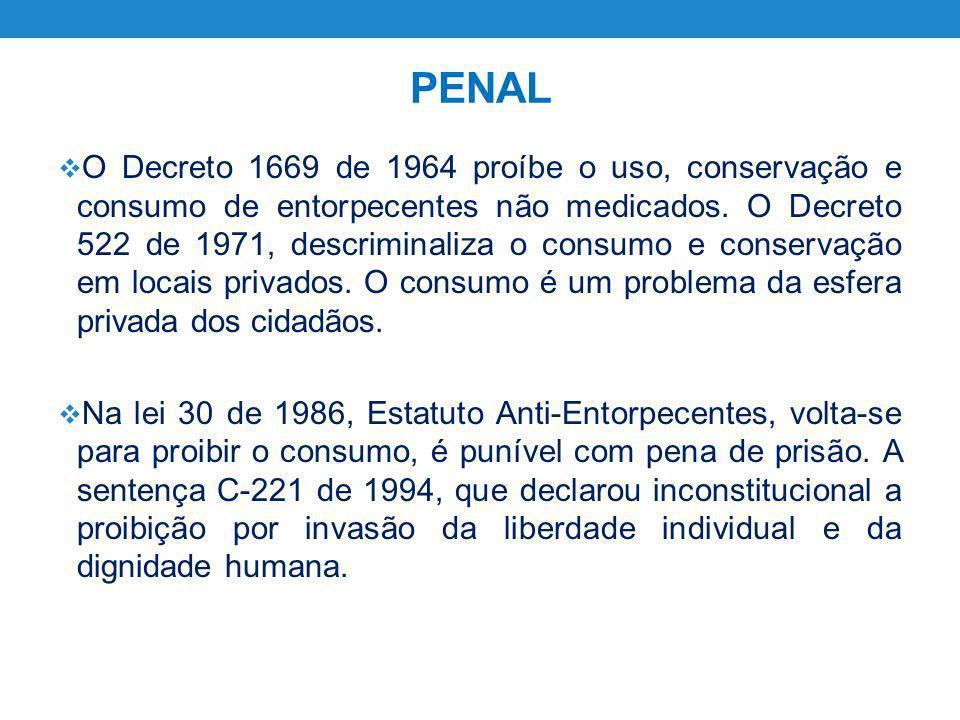 PENAL O Decreto 1669 de 1964 proíbe o uso, conservação e consumo de entorpecentes não medicados. O Decreto 522 de 1971, descriminaliza o consumo e con