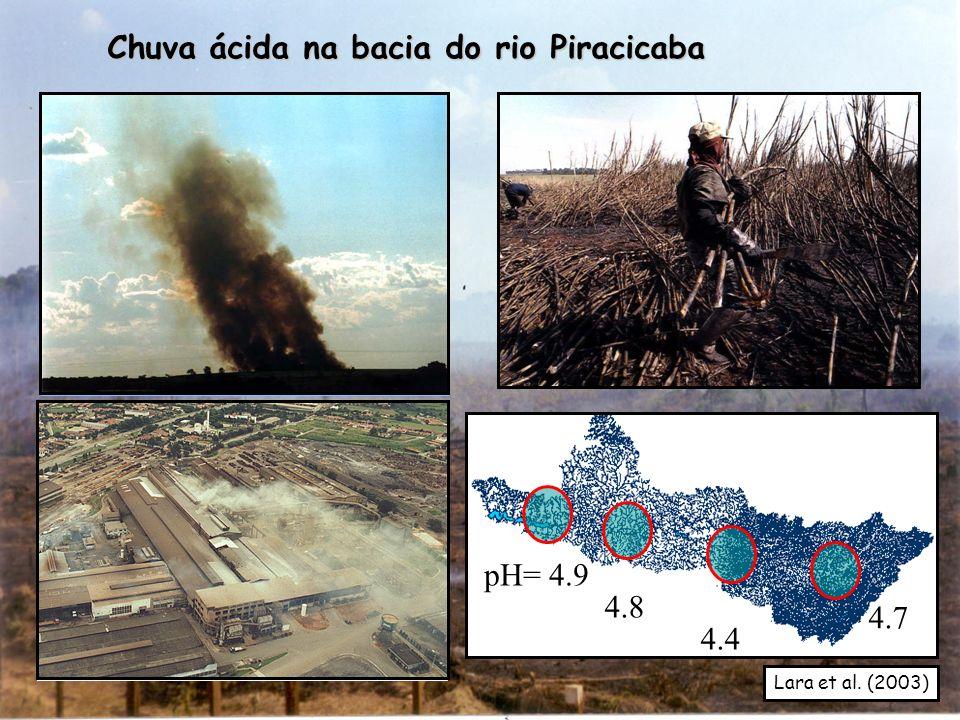 4.7 4.4 4.8 pH= 4.9 Chuva ácida na bacia do rio Piracicaba 4.7 Lara et al. (2003)