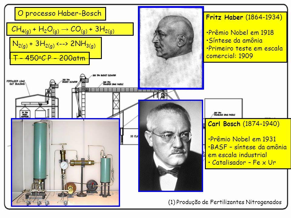 Fritz Haber (1864-1934) Prêmio Nobel em 1918 Síntese da amônia Primeiro teste em escala comercial: 1909 Carl Bosch (1874-1940) Prêmio Nobel em 1931 BA