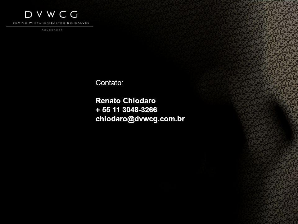 Contato: Renato Chiodaro + 55 11 3048-3266 chiodaro@dvwcg.com.br
