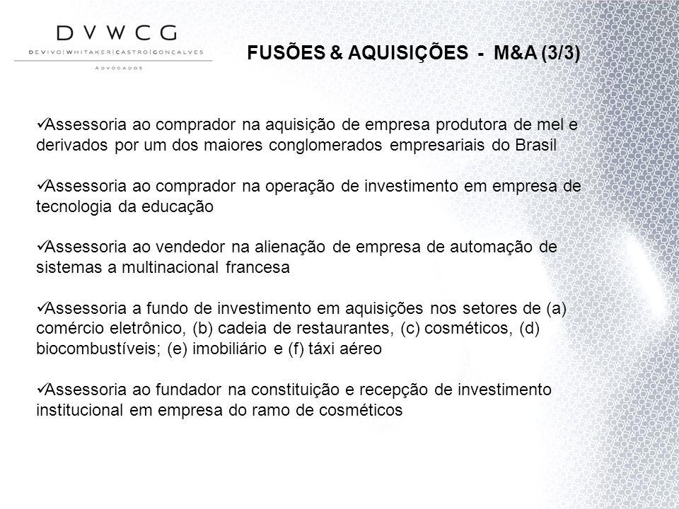 Assessoria ao comprador na aquisição de empresa produtora de mel e derivados por um dos maiores conglomerados empresariais do Brasil Assessoria ao com