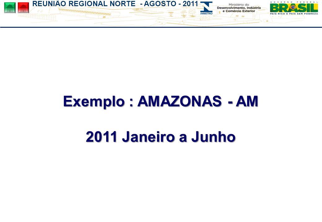 REUNIÃO REGIONAL NORTE - AGOSTO - 2011 Exemplo : AMAZONAS - AM 2011 Janeiro a Junho