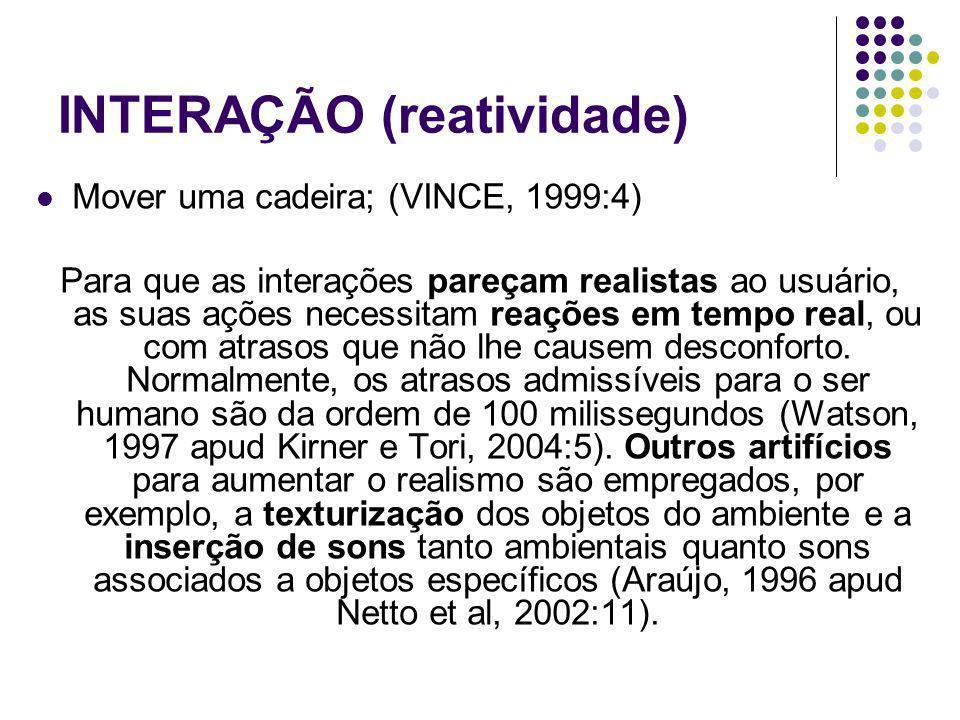 INTERAÇÃO (reatividade) Mover uma cadeira; (VINCE, 1999:4) Para que as interações pareçam realistas ao usuário, as suas ações necessitam reações em te