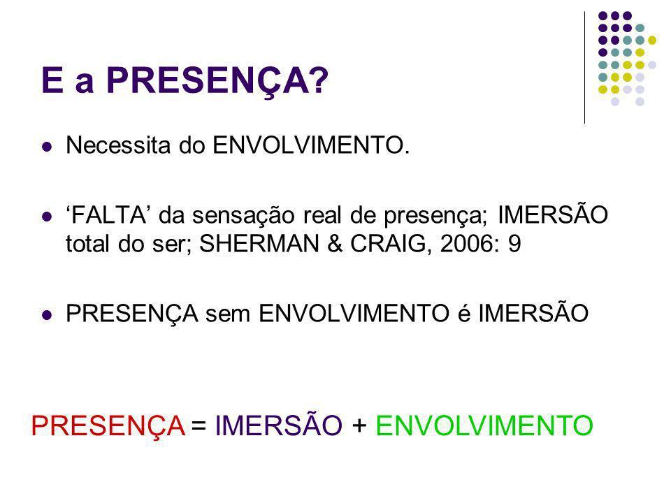 E a PRESENÇA? Necessita do ENVOLVIMENTO. FALTA da sensação real de presença; IMERSÃO total do ser; SHERMAN & CRAIG, 2006: 9 PRESENÇA sem ENVOLVIMENTO