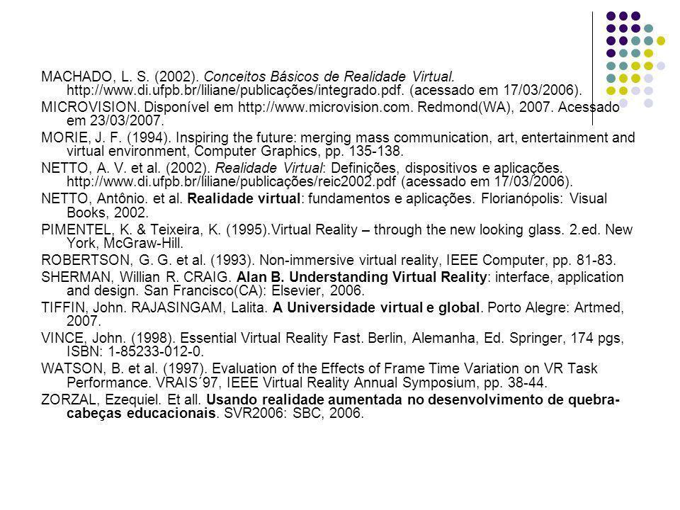 MACHADO, L. S. (2002). Conceitos Básicos de Realidade Virtual. http://www.di.ufpb.br/liliane/publicações/integrado.pdf. (acessado em 17/03/2006). MICR