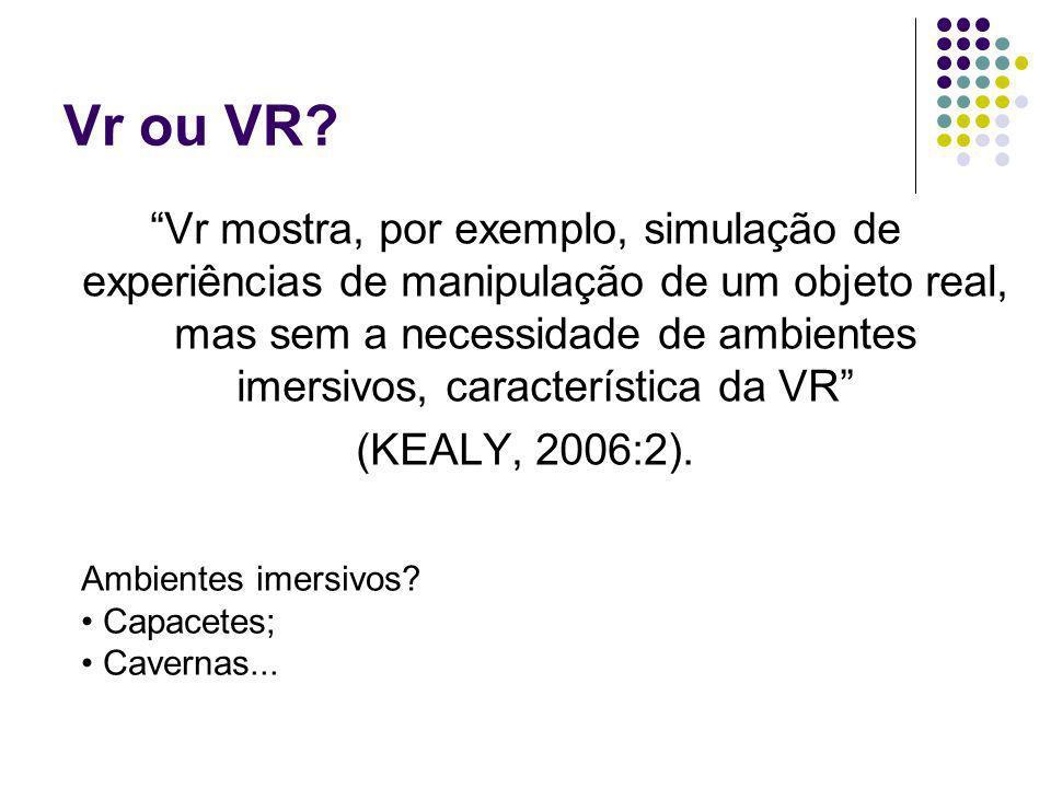Vr ou VR? Vr mostra, por exemplo, simulação de experiências de manipulação de um objeto real, mas sem a necessidade de ambientes imersivos, caracterís
