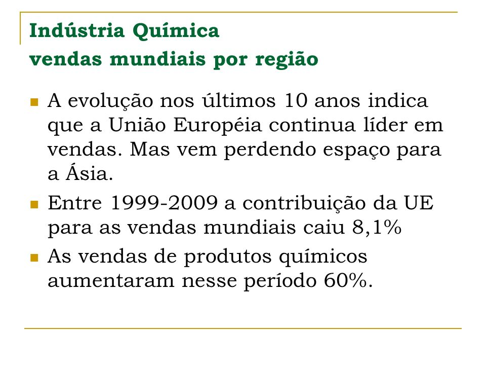 Indústria Química vendas mundiais por região A evolução nos últimos 10 anos indica que a União Européia continua líder em vendas. Mas vem perdendo esp