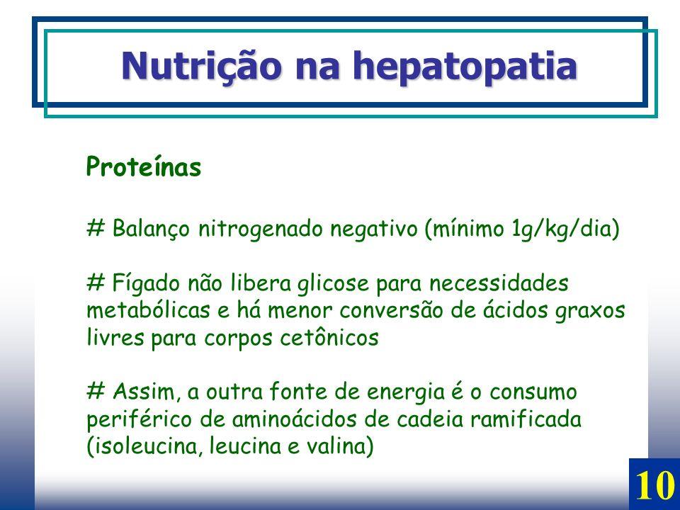 Proteínas # Balanço nitrogenado negativo (mínimo 1g/kg/dia) # Fígado não libera glicose para necessidades metabólicas e há menor conversão de ácidos g