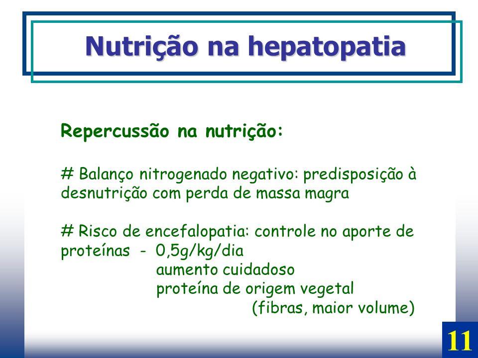 Repercussão na nutrição: # Balanço nitrogenado negativo: predisposição à desnutrição com perda de massa magra # Risco de encefalopatia: controle no ap
