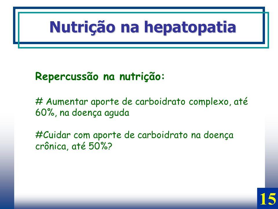 Repercussão na nutrição: # Aumentar aporte de carboidrato complexo, até 60%, na doença aguda #Cuidar com aporte de carboidrato na doença crônica, até