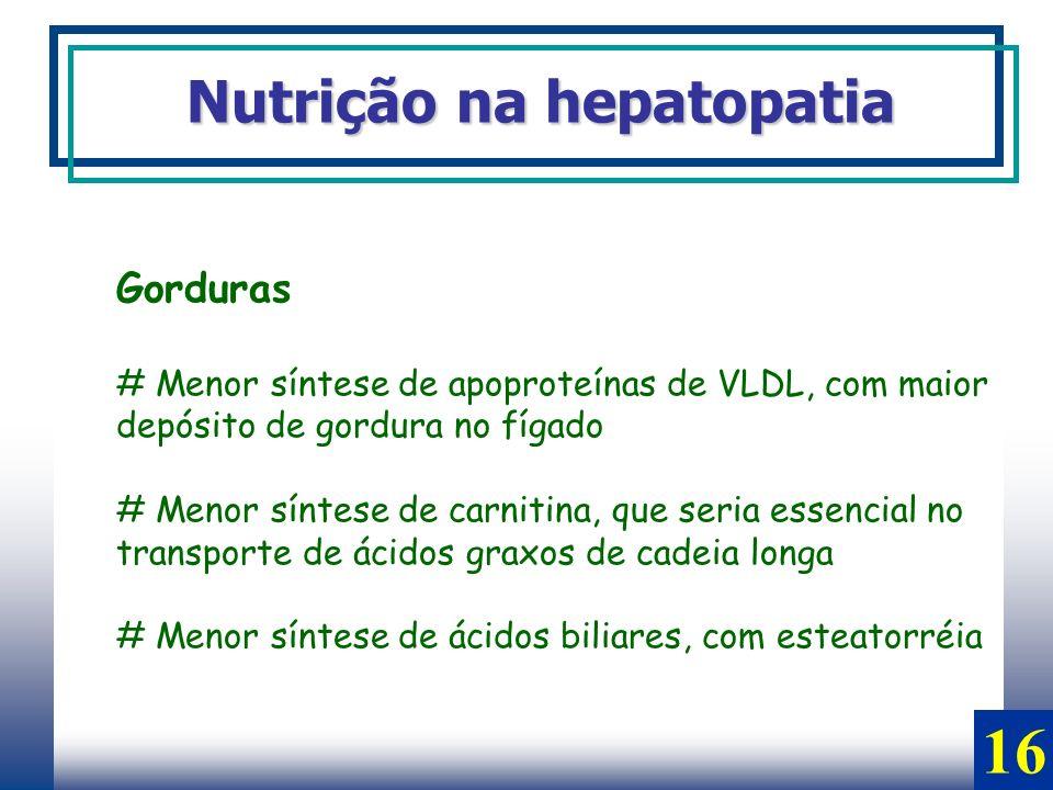 Gorduras # Menor síntese de apoproteínas de VLDL, com maior depósito de gordura no fígado # Menor síntese de carnitina, que seria essencial no transpo
