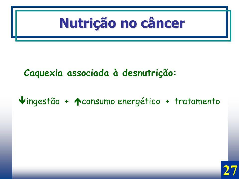 Nutrição no câncer Caquexia associada à desnutrição: ingestão + consumo energético + tratamento 27