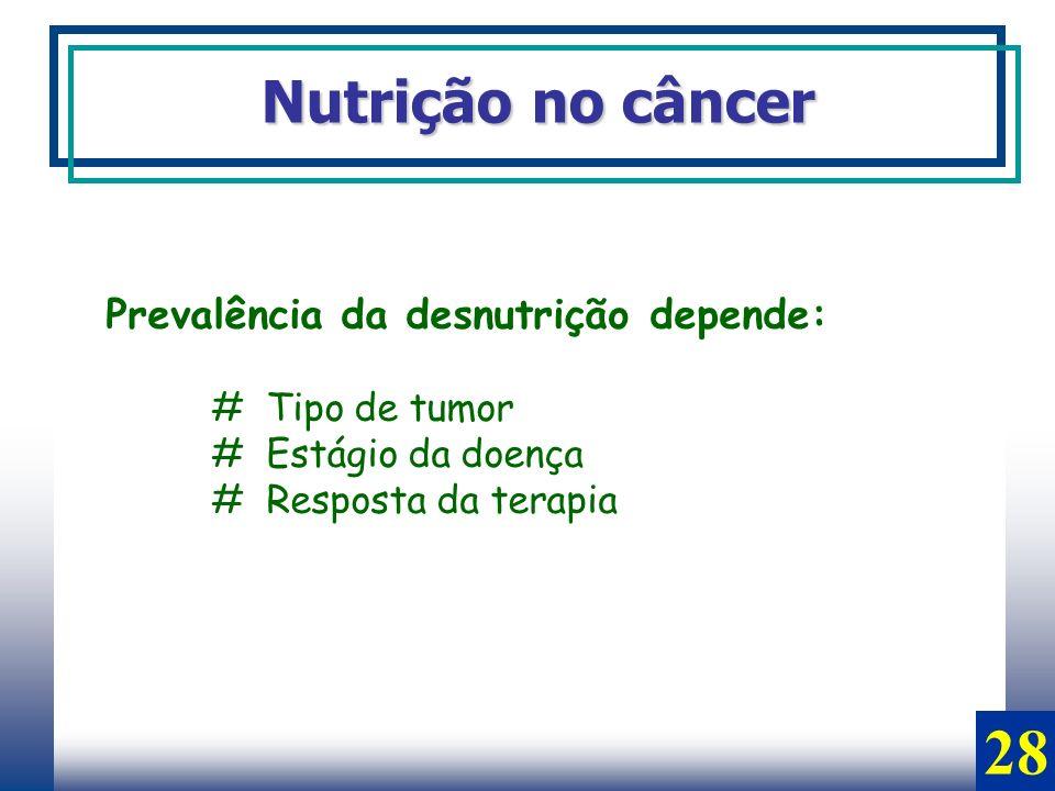 Nutrição no câncer Prevalência da desnutrição depende: # Tipo de tumor # Estágio da doença # Resposta da terapia 28