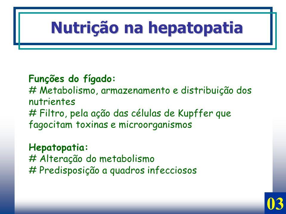 Nutrição na hepatopatia Funções do fígado: # Metabolismo, armazenamento e distribuição dos nutrientes # Filtro, pela ação das células de Kupffer que f