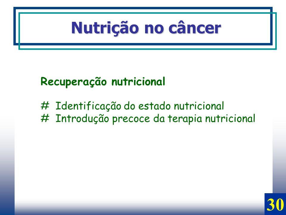 Nutrição no câncer Recuperação nutricional # Identificação do estado nutricional # Introdução precoce da terapia nutricional 30